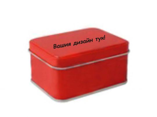 Tin box with own design 100/75/h50 mm.